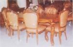 meja kursi makan jati ukiran jepara type ganesa 1 set 6 Dudukan