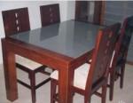 kursi meja makan minimalis jati double tripel 1 set