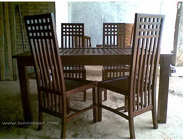 kursi makan balero kotak minimalis kayu jati jepara set 4 kursi