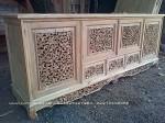 bufet palembang ukiran kayu jati jepara 3 laci 4 pintu ukuran 200cm