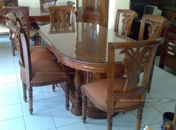 Kursi meja makan salina gendong padi kayu jati ukiran jepara