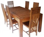 set meja kursi makan balero kotak minimalis kayu jati jepara set 6