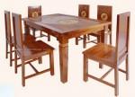 kursi meja makan jati jepara minimalis ukiran matahari set 6 dudukan