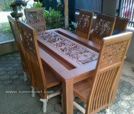kursi meja makan jati jepara ukiran bambu
