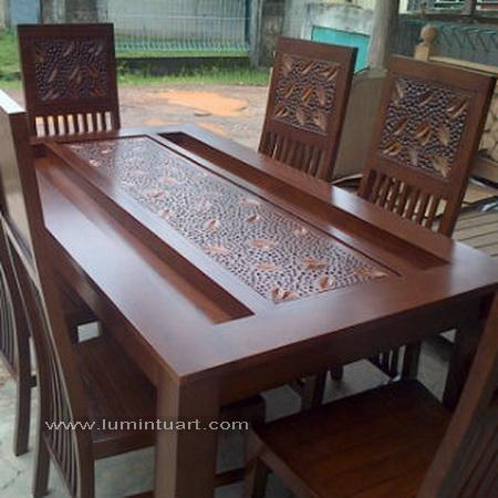 kursi meja makan pasir kayu jati jepara ukiran daun