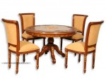 kursi meja makan jati jepara ukiran salina plong set 4 kursi meja bulat