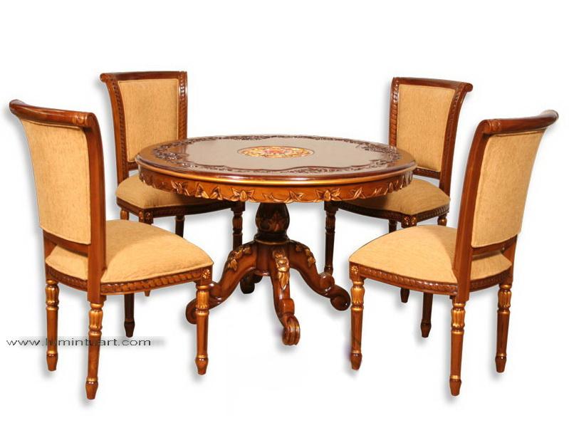 kursi meja makan salina plong bulat set