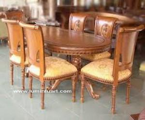 meja kursi makan set salina blok kayu jati ukiran jepara