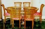 kursi meja makan set kayu jati jepara minimalis keranjang