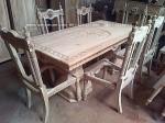 kursi meja makan manohara kayu jati ukiran jepara set