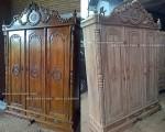 almari pakaian pintu 3 kayu jati jepara ukiran inul