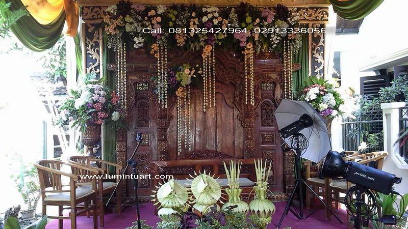 set dekorasi pengantin sketsel gebyok ukiran kayu jati jepara