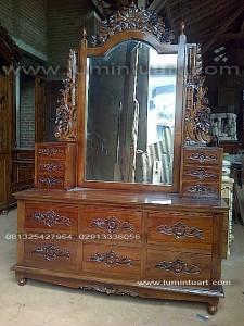 meja rias cermin tolet fuel laci ukiran kayu jati jepara