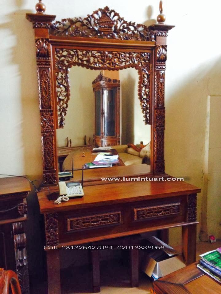 meja rias tolet cermin gebyok fuel ukiran kayu jati jepara