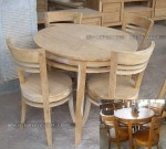 meja kursi makan bulat minimalis telur set kayu jati jepara