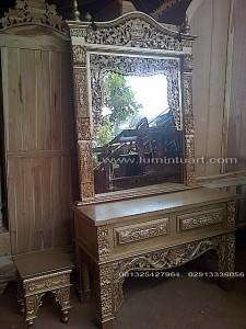 meja rias cermin kaca gebyok mahkota ukir jati jepara