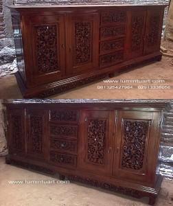 bufet ukir palembang kayu jati jepara laci 4 tengah 200cm