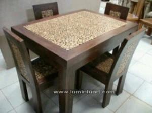 meja kursi makan coin koin minimalis jepara set 4