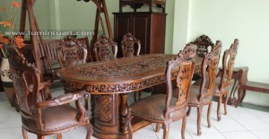 kursi meja makan ganesa gendong set sandaran fuel ukiran kayu jati jepara