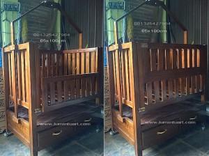 ranjang dipan box tempat tidur bayi anak minimalis jari kayu jati