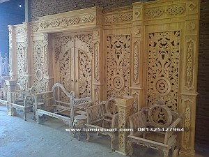 sketsel gebyok dekorasi pengantin minimalis teratai kayu jati ukiran jepara