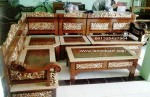 kursi tamu sudut rahwana bagong kayu jati ukiran jepara set