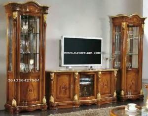 almari bufet tv Inlay kayu jati ukiran jepara